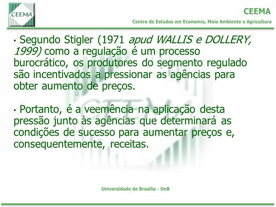 Segundo Stigler (1971 apud WALLIS e DOLLERY, 1999) como a regulação é um processo burocrático, os produtores do segmento regulado são incentivados a pressionar as agências para obter aumento de preços.