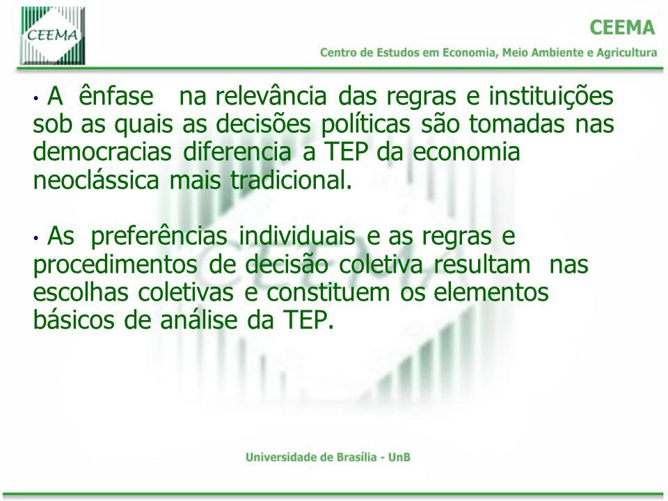 A ênfase na relevância das regras e instituições sob as quais as decisões políticas são tomadas nas democracias diferencia a TEP da economia neoclássica mais tradicional.