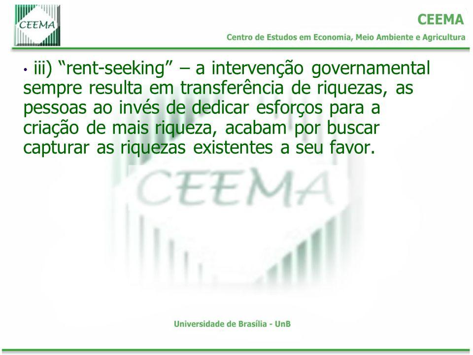 iii) rent-seeking – a intervenção governamental sempre resulta em transferência de riquezas, as pessoas ao invés de dedicar esforços para a criação de mais riqueza, acabam por buscar capturar as riquezas existentes a seu favor.