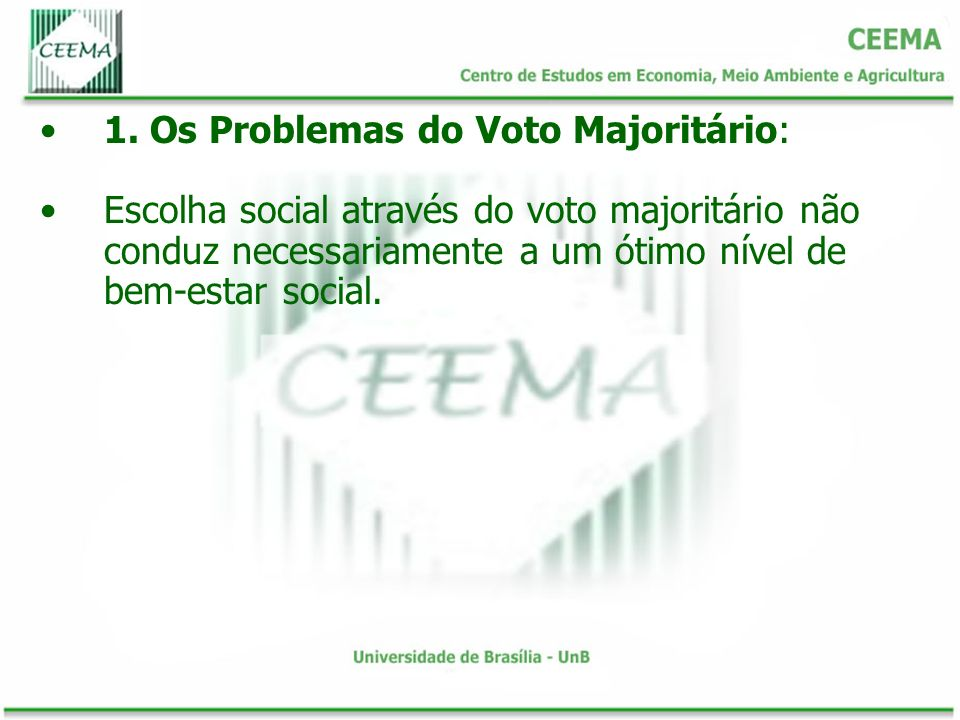 1. Os Problemas do Voto Majoritário: