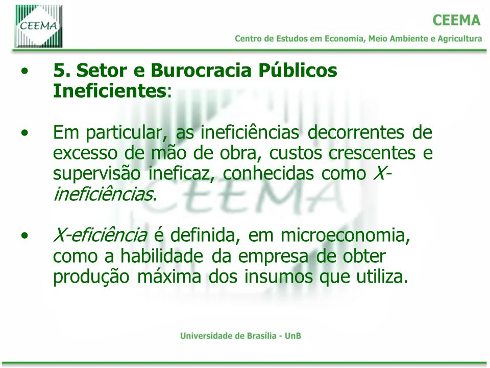 5. Setor e Burocracia Públicos Ineficientes: