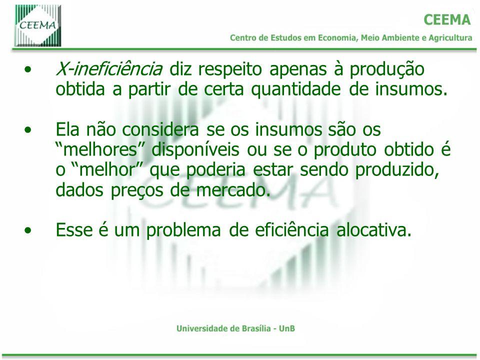 X-ineficiência diz respeito apenas à produção obtida a partir de certa quantidade de insumos.