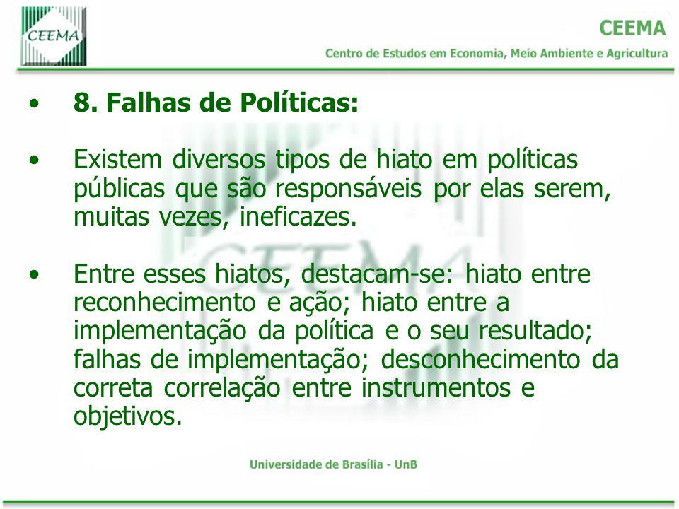 8. Falhas de Políticas: Existem diversos tipos de hiato em políticas públicas que são responsáveis por elas serem, muitas vezes, ineficazes.