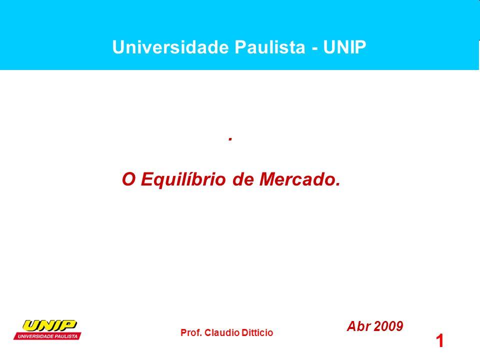 Universidade Paulista - UNIP O Equilíbrio de Mercado.