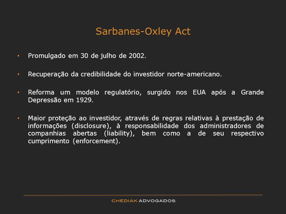 Sarbanes-Oxley Act Promulgado em 30 de julho de 2002.