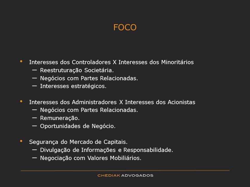 FOCO Interesses dos Controladores X Interesses dos Minoritários