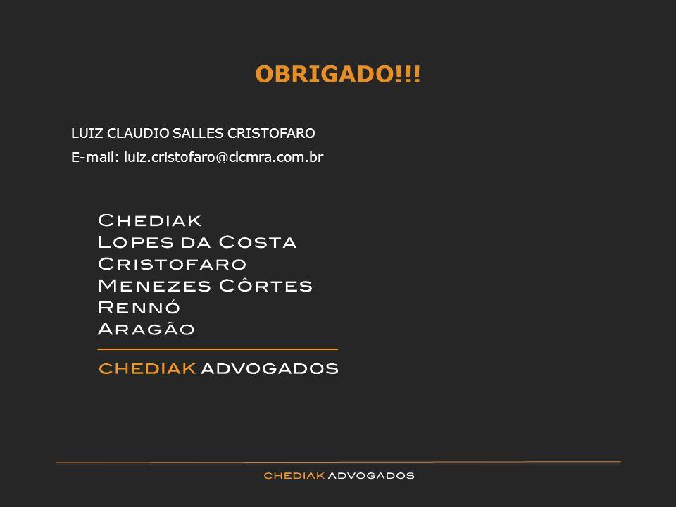 OBRIGADO!!! LUIZ CLAUDIO SALLES CRISTOFARO