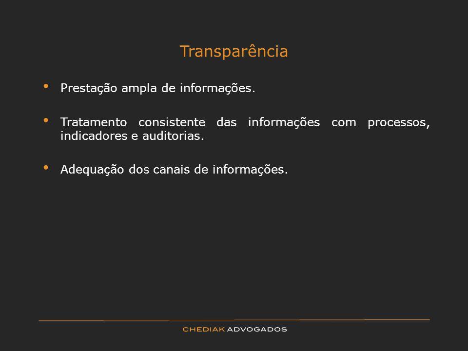 Transparência Prestação ampla de informações.