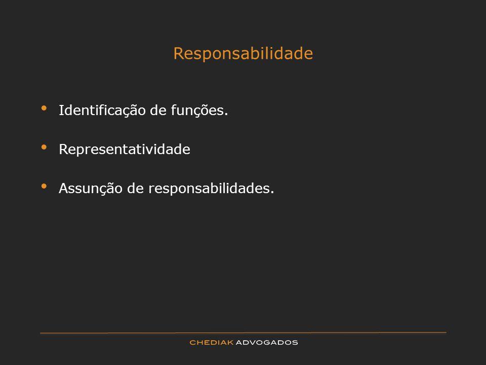 Responsabilidade Identificação de funções. Representatividade