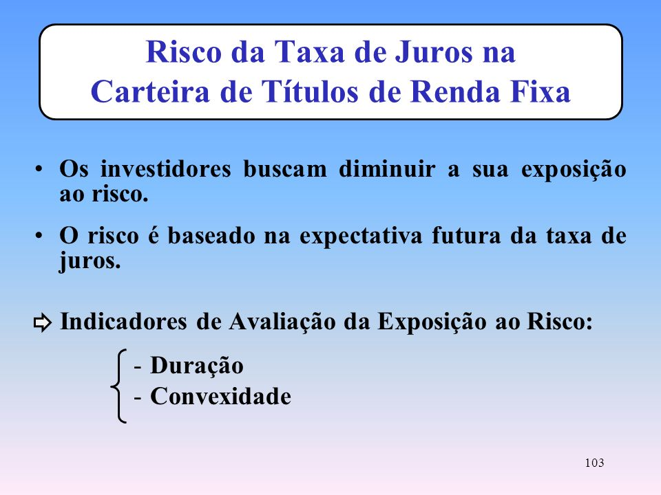 Risco da Taxa de Juros na Carteira de Títulos de Renda Fixa