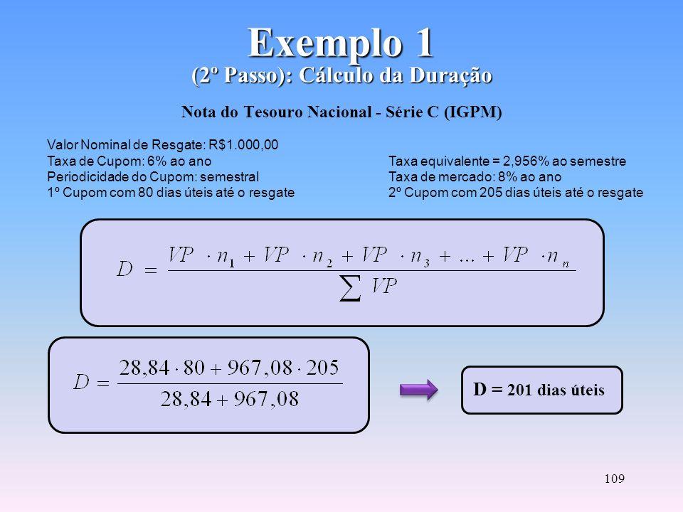 Exemplo 1 (2º Passo): Cálculo da Duração Nota do Tesouro Nacional - Série C (IGPM)