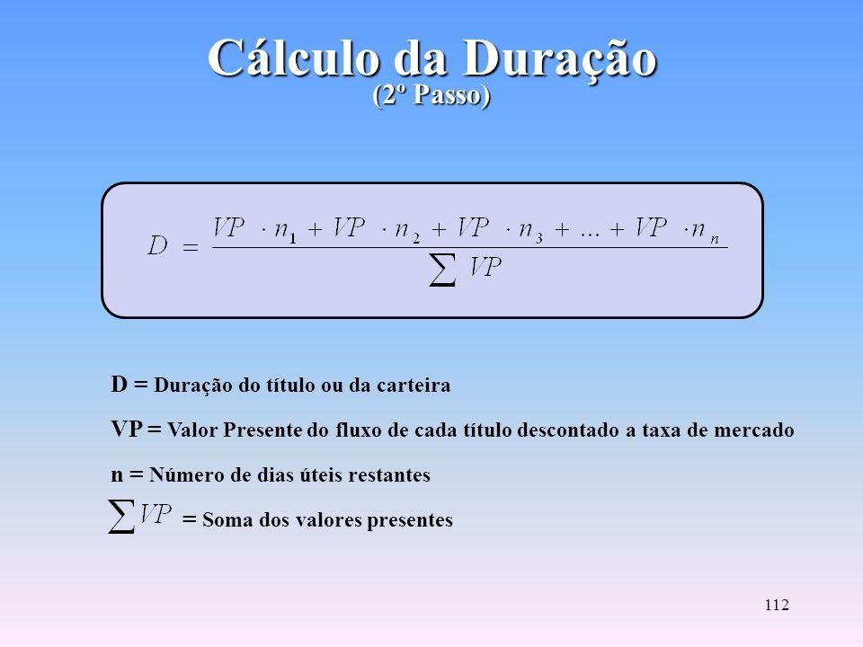 Cálculo da Duração (2º Passo)