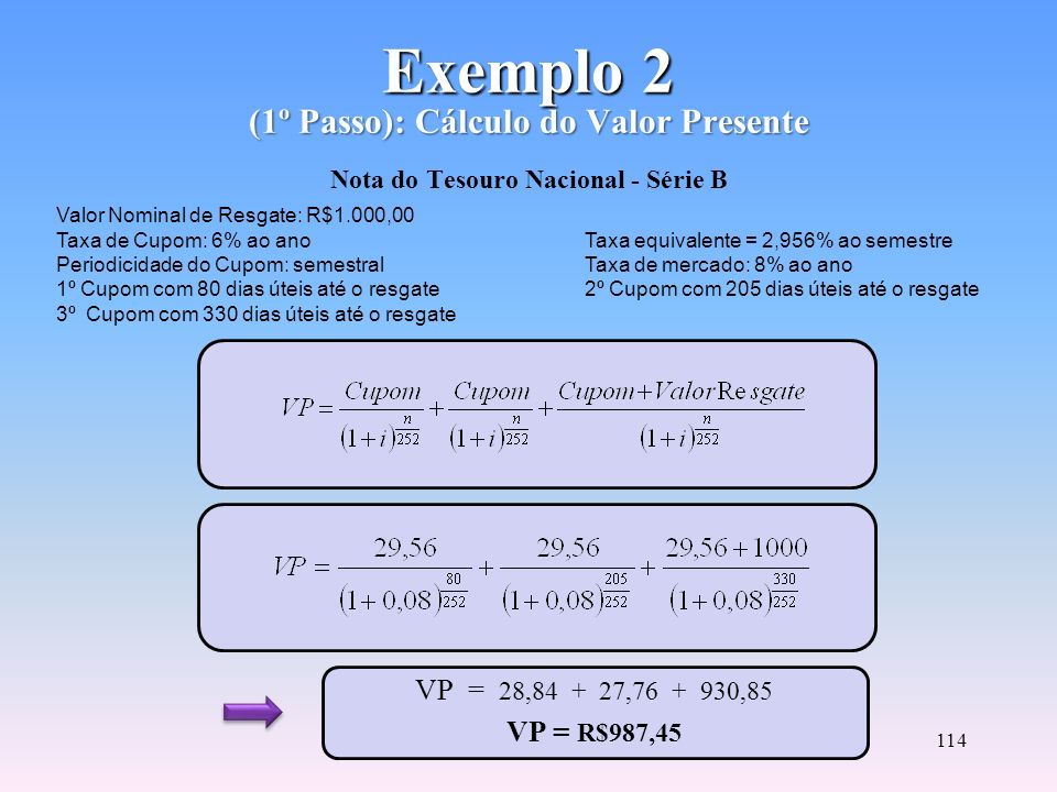 Exemplo 2 (1º Passo): Cálculo do Valor Presente Nota do Tesouro Nacional - Série B
