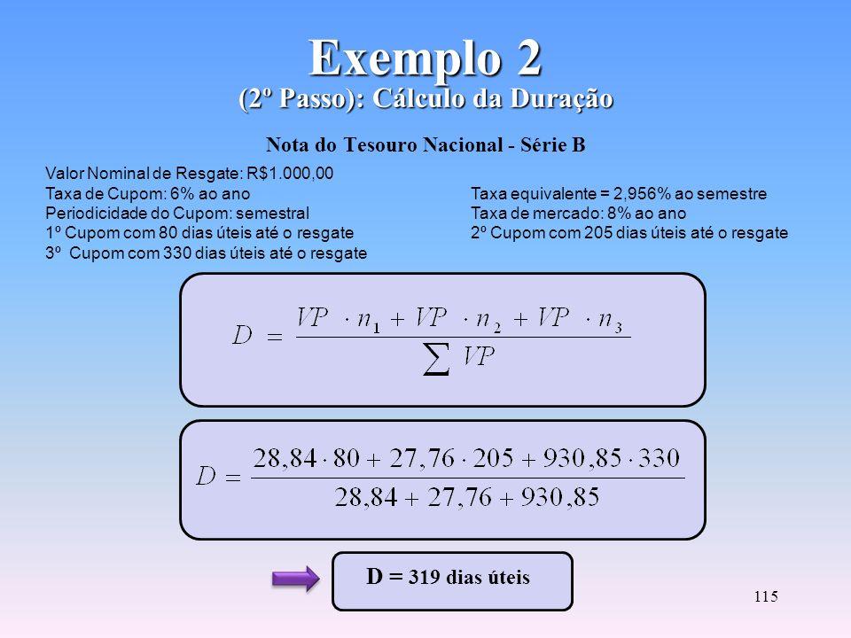 Exemplo 2 (2º Passo): Cálculo da Duração Nota do Tesouro Nacional - Série B