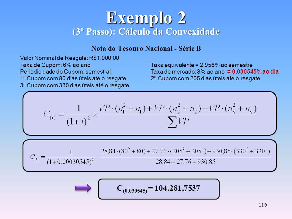 Exemplo 2 (3º Passo): Cálculo da Convexidade Nota do Tesouro Nacional - Série B