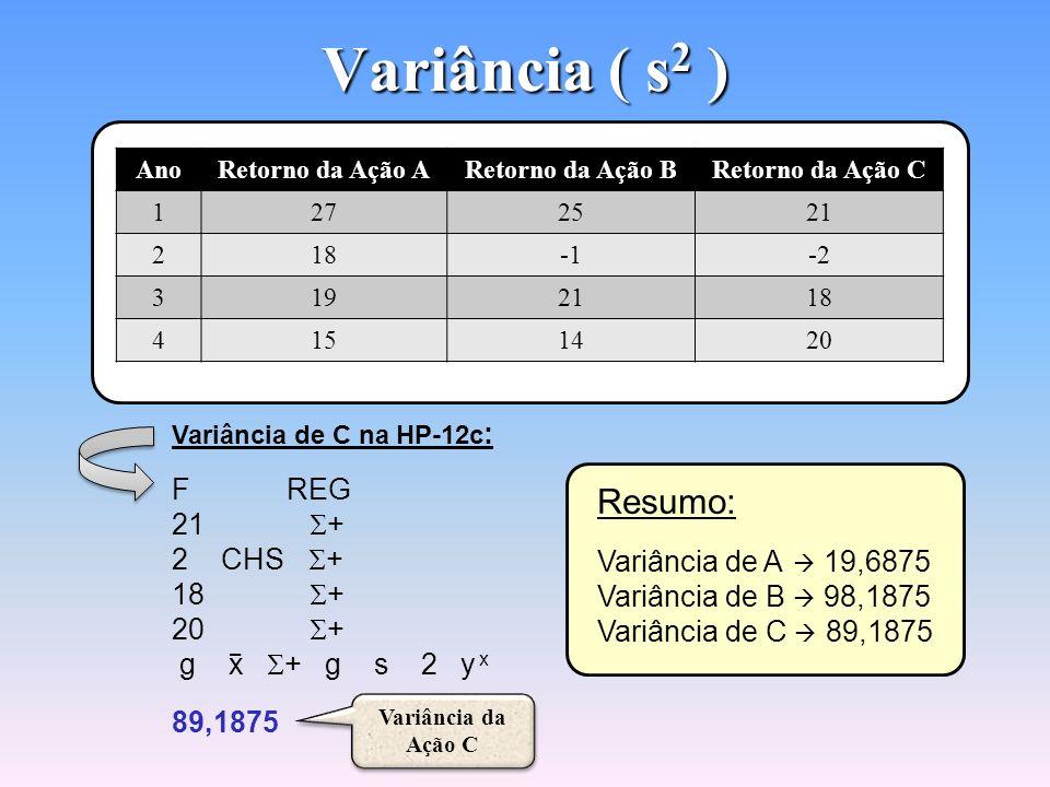 Variância ( s2 ) Resumo: F REG 21 S+ 2 CHS S+ 18 S+ 20 S+