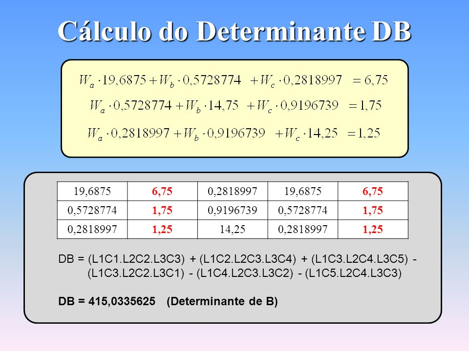 Cálculo do Determinante DB