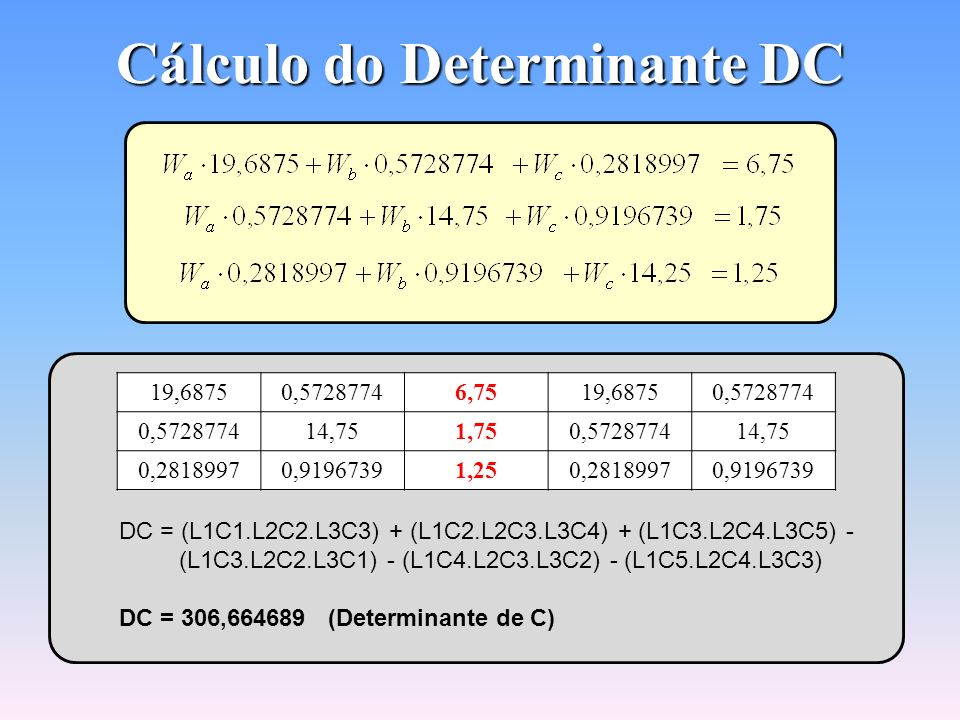 Cálculo do Determinante DC