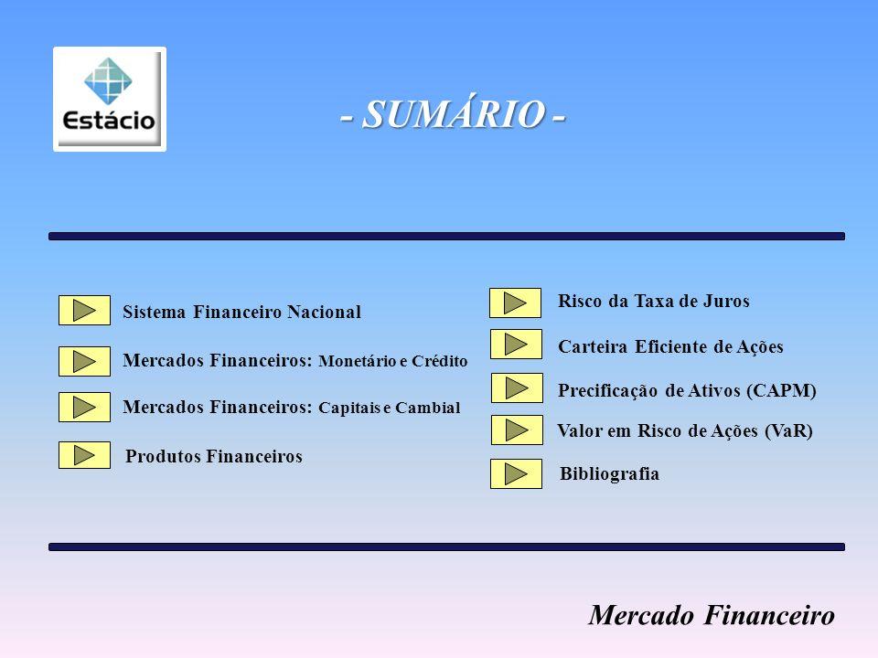- SUMÁRIO - Mercado Financeiro Risco da Taxa de Juros
