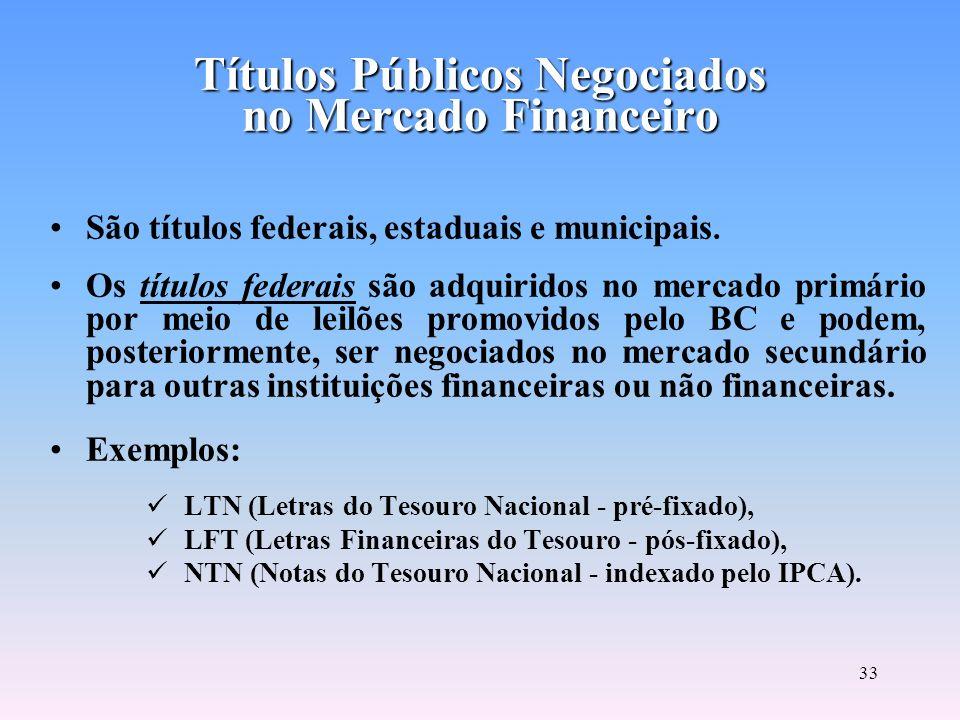 Títulos Públicos Negociados no Mercado Financeiro
