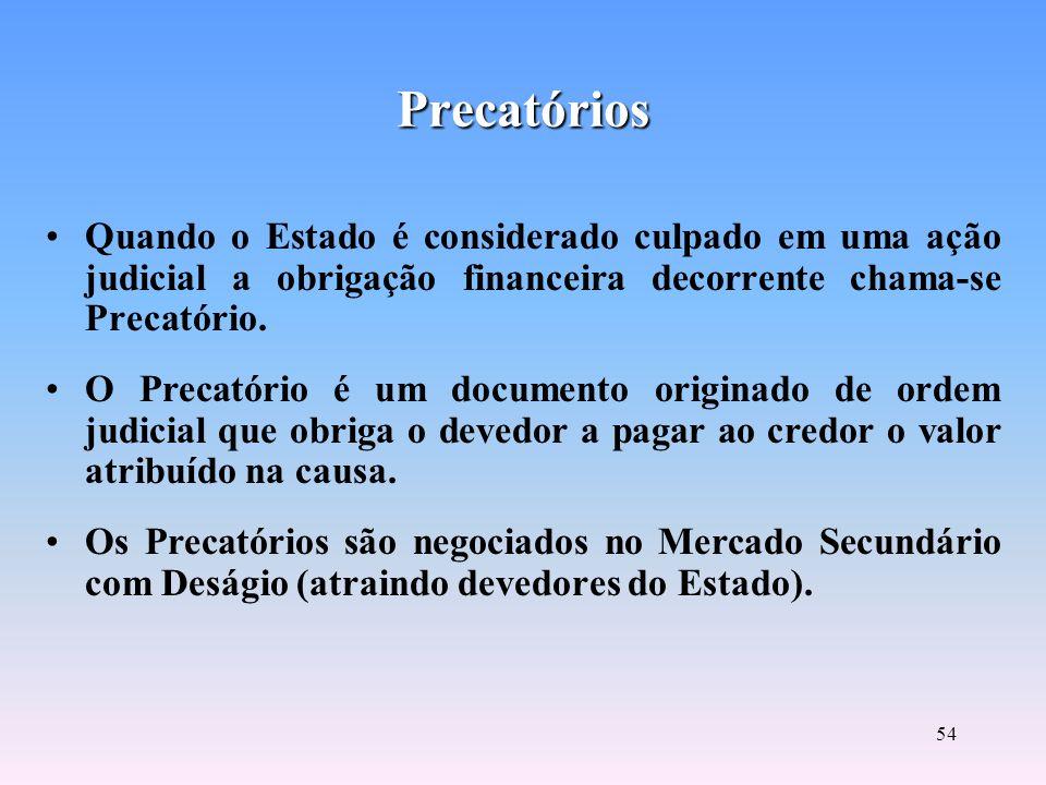 Precatórios Quando o Estado é considerado culpado em uma ação judicial a obrigação financeira decorrente chama-se Precatório.
