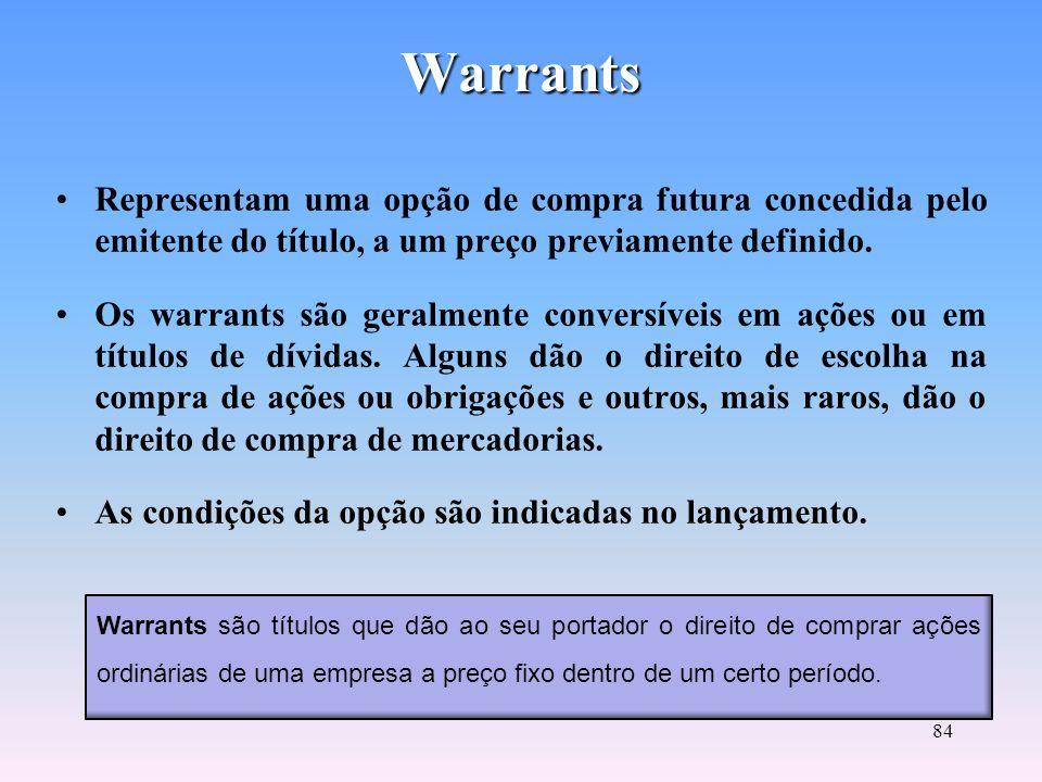 Warrants Representam uma opção de compra futura concedida pelo emitente do título, a um preço previamente definido.