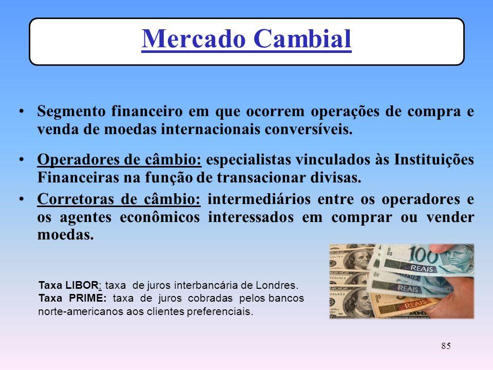 Mercado Cambial Segmento financeiro em que ocorrem operações de compra e venda de moedas internacionais conversíveis.