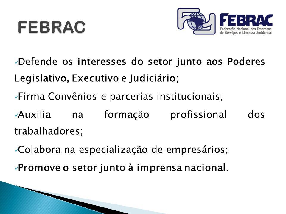 FEBRAC Defende os interesses do setor junto aos Poderes Legislativo, Executivo e Judiciário; Firma Convênios e parcerias institucionais;