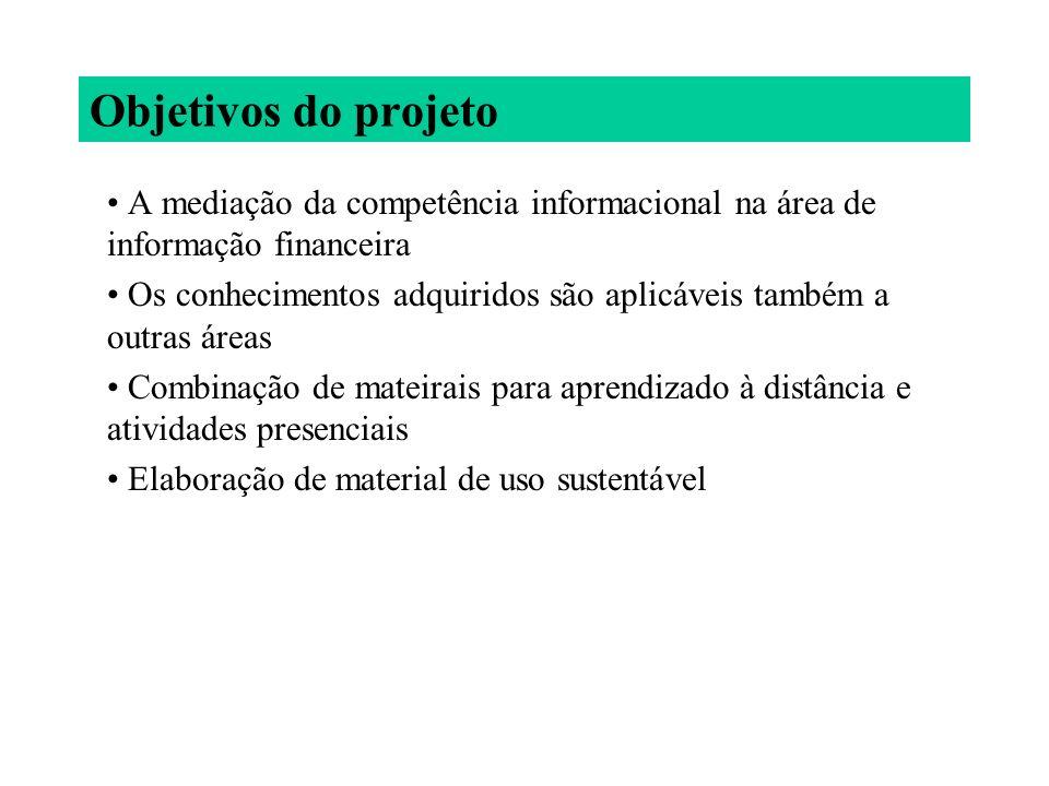 Objetivos do projeto A mediação da competência informacional na área de informação financeira.