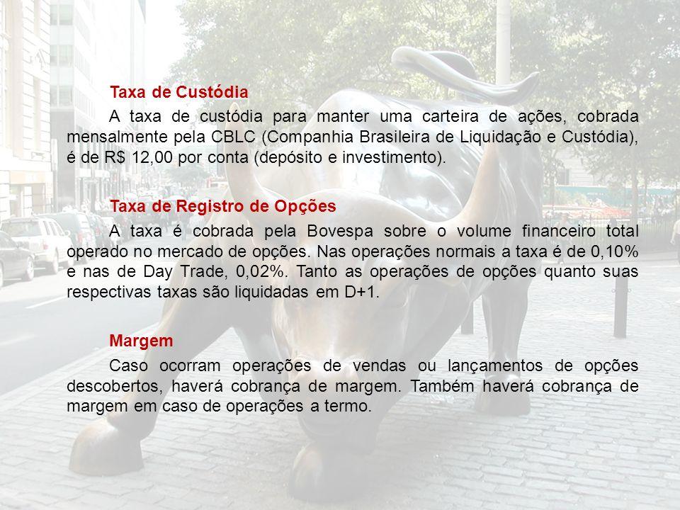 Taxa de Custódia A taxa de custódia para manter uma carteira de ações, cobrada mensalmente pela CBLC (Companhia Brasileira de Liquidação e Custódia), é de R$ 12,00 por conta (depósito e investimento).