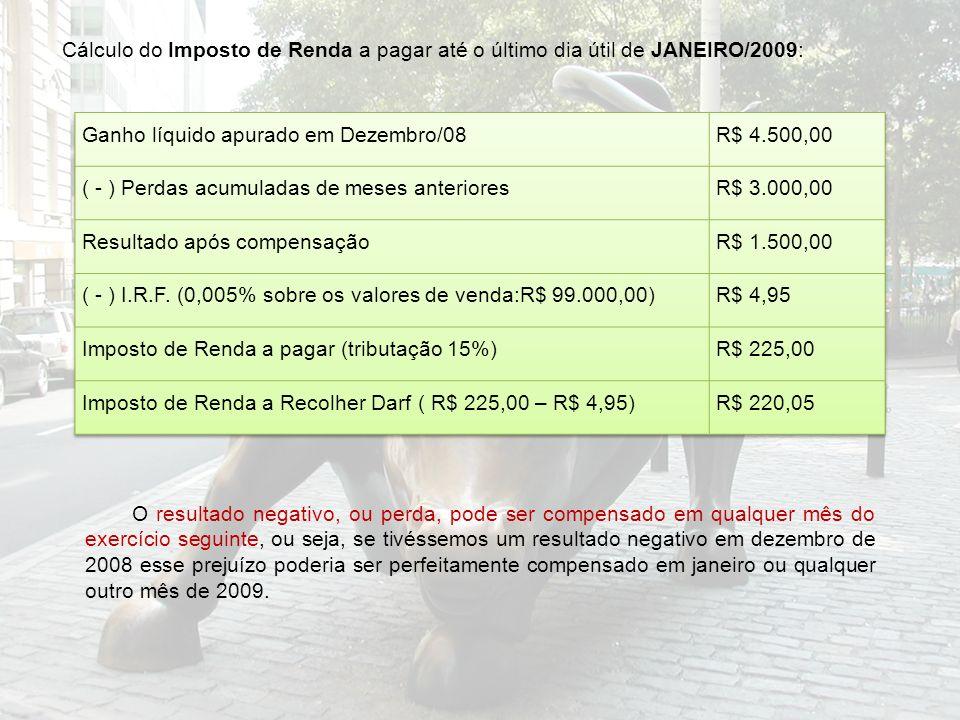 Cálculo do Imposto de Renda a pagar até o último dia útil de JANEIRO/2009: