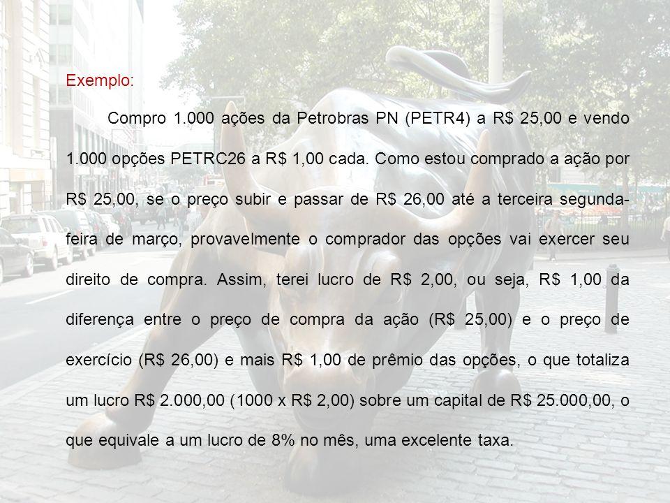 Exemplo: Compro 1.000 ações da Petrobras PN (PETR4) a R$ 25,00 e vendo 1.000 opções PETRC26 a R$ 1,00 cada.
