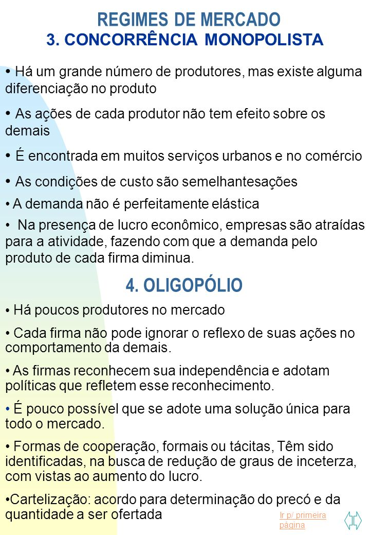 REGIMES DE MERCADO 4. OLIGOPÓLIO