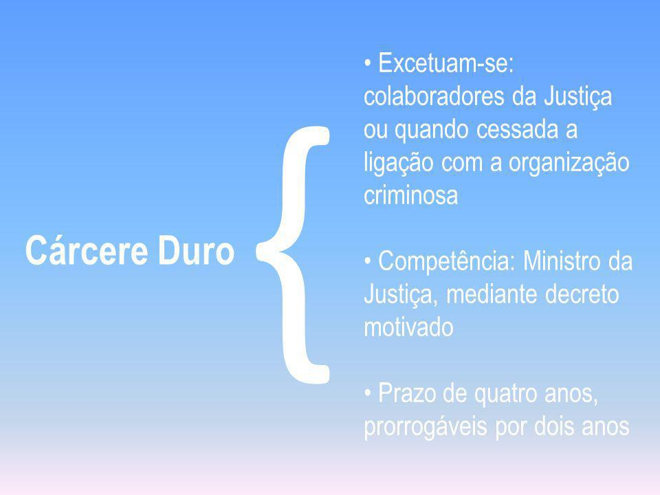 Cárcere Duro { • Excetuam-se: colaboradores da Justiça ou quando cessada a ligação com a organização criminosa.
