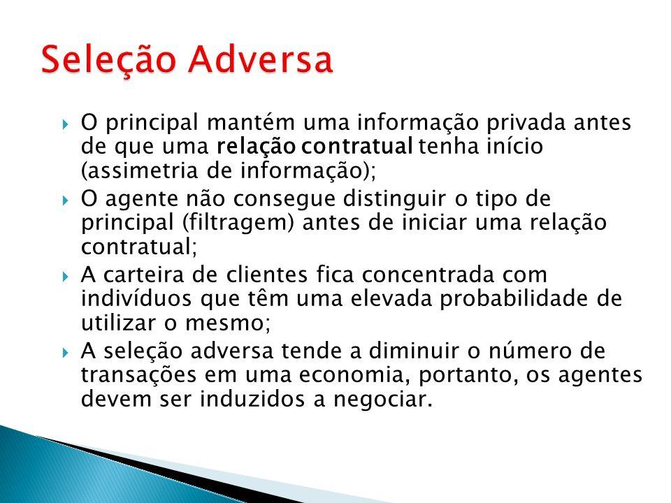 Seleção Adversa O principal mantém uma informação privada antes de que uma relação contratual tenha início (assimetria de informação);