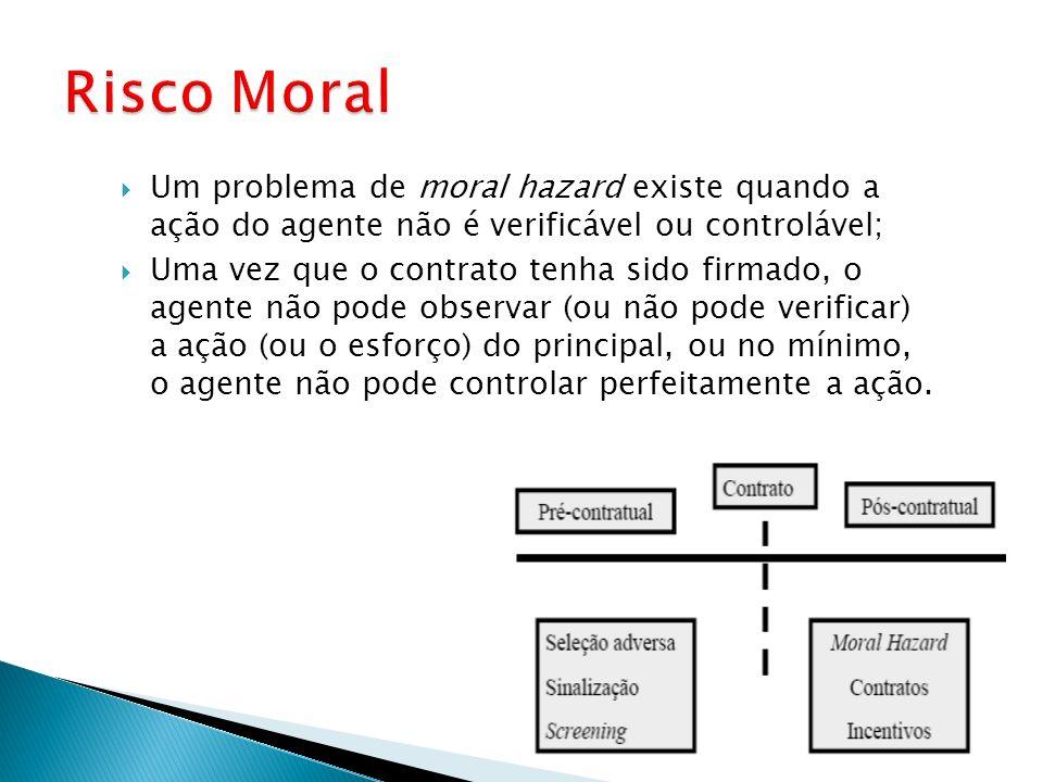 Risco MoralUm problema de moral hazard existe quando a ação do agente não é verificável ou controlável;