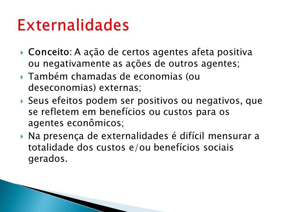 Externalidades Conceito: A ação de certos agentes afeta positiva ou negativamente as ações de outros agentes;