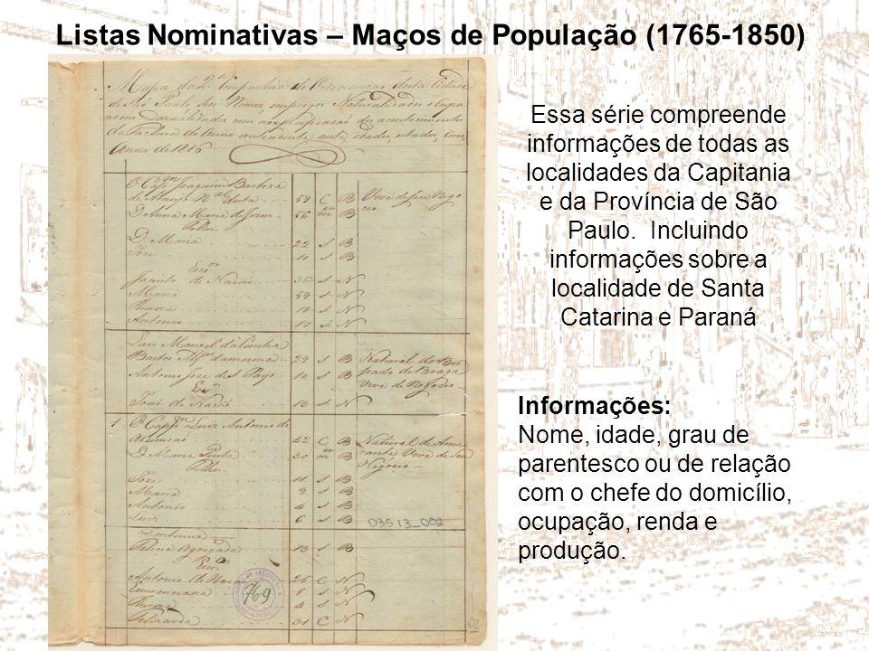 Listas Nominativas – Maços de População (1765-1850)