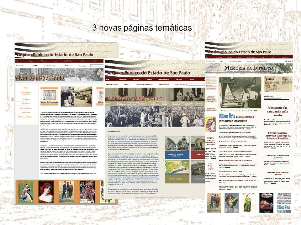 3 novas páginas temáticas