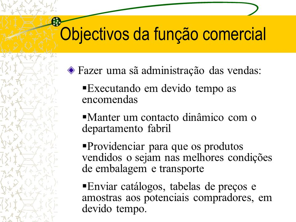 Objectivos da função comercial