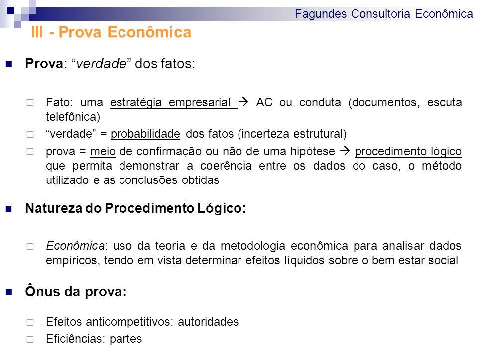 III - Prova Econômica Prova: verdade dos fatos: Ônus da prova: