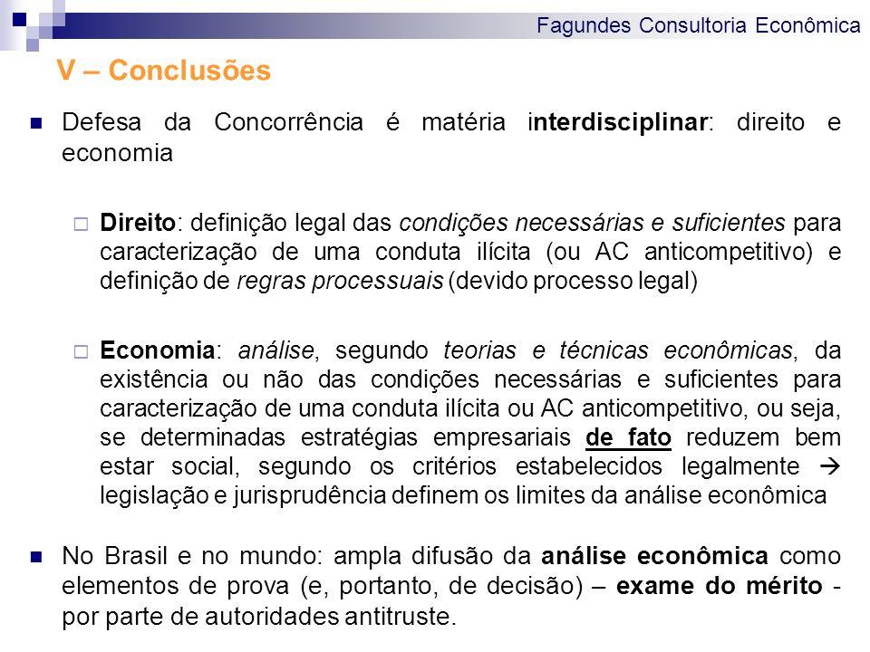 V – Conclusões Defesa da Concorrência é matéria interdisciplinar: direito e economia.