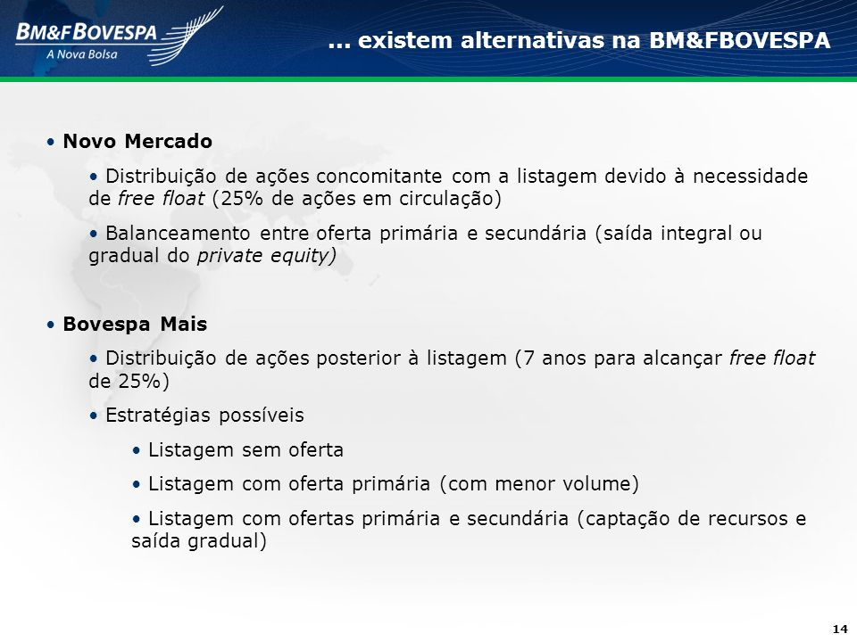 ... existem alternativas na BM&FBOVESPA
