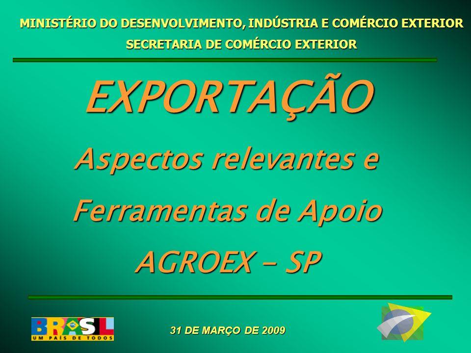 EXPORTAÇÃO Aspectos relevantes e Ferramentas de Apoio AGROEX - SP