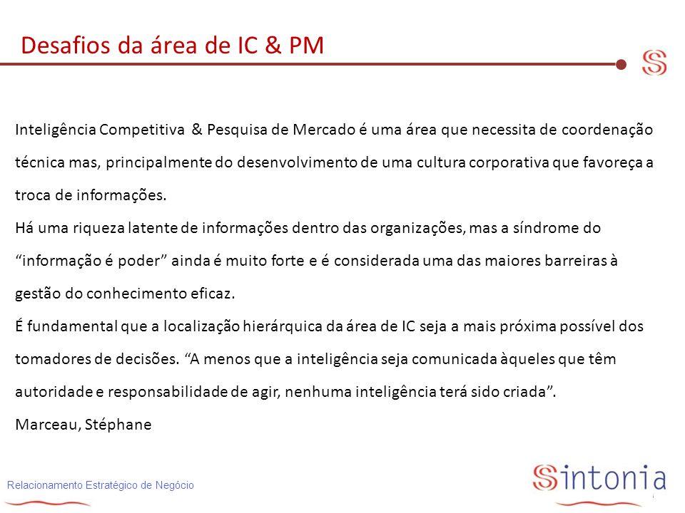 Desafios da área de IC & PM