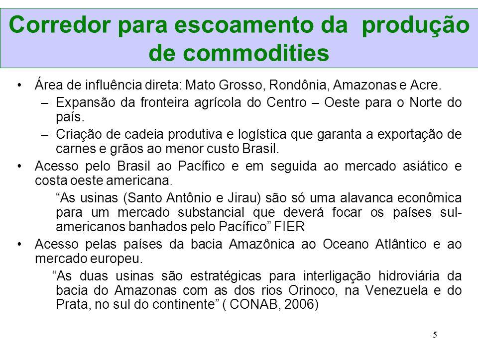 Corredor para escoamento da produção de commodities