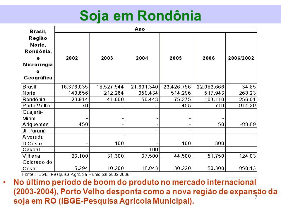 Soja em Rondônia Em meados dos anos 80, a soja desponta como o produto de maior interesse nacional no mercado externo.