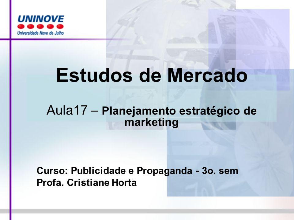 Estudos de Mercado Aula17 – Planejamento estratégico de marketing