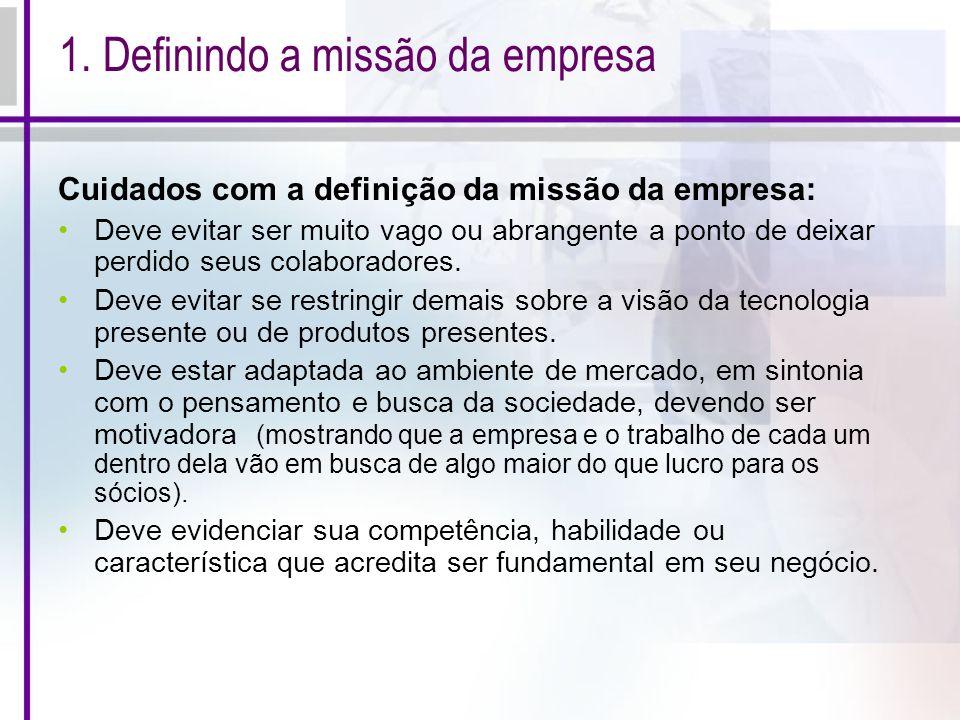 1. Definindo a missão da empresa
