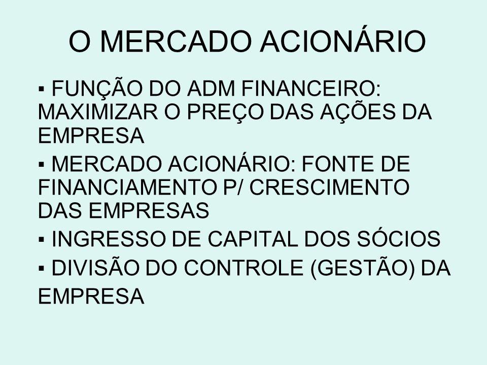 O MERCADO ACIONÁRIO ▪ FUNÇÃO DO ADM FINANCEIRO: MAXIMIZAR O PREÇO DAS AÇÕES DA EMPRESA.